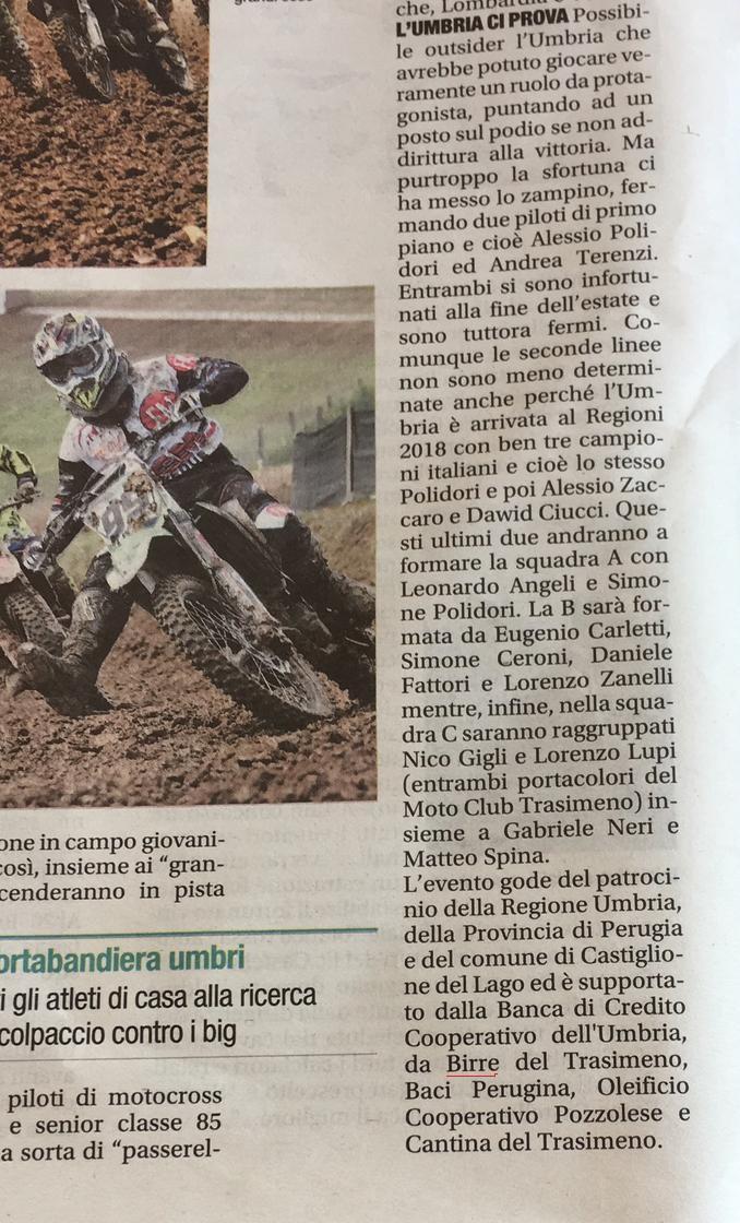 Corriere dell'Umbria 14 ottobre 2018 - citazione Birre del Trasimeno